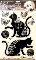 Samolepka na zeď - kočky se stříbrnou konturou - 10082