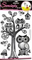 Samolepka na zeď - strom se sovami - 10084