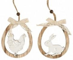 Oválek velikonoční, dřevěný - slepička, zajíček  8732