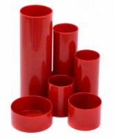 Plastový stojánek - 6-dílný - kulatý - červený - A2530