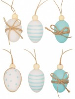Dekorace velikonoční - vajíčka plastová s korálkem na zavěšení - 4 cm, 6 ks 9911