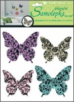 Samolepky na zeď 3D - Motýli s ornamenty - 4 ks - 10153