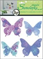 Samolepky na zeď 3D - Motýli modrofialoví - 4 ks - 10154