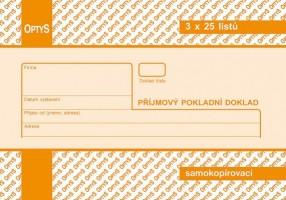 Příjmový pokladní doklad 3 x 25 listů, propisující Optys 1082