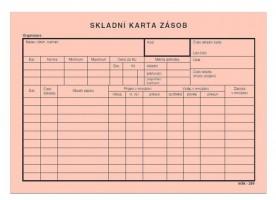 Skladní karta zásob A5 na šířku mSk 289