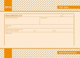Reklamační list A5 propisující Optys 1254