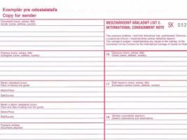 CMR mezinárodní nákladní list propisující Optys 1197