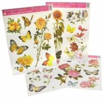 Okenní fólie - kytice květů a motýli 38 x 30 cm - 880