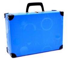 Kufřík lamino hranatý, okovaný - Karton P+P - Neo Colori - modrý - 5-64918