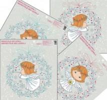 Okenní fólie - andílci ve věnečku - 33,5 x 30 cm - 474