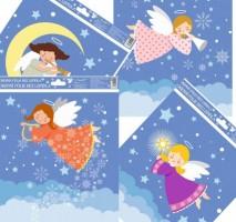 Okenní fólie - veselí a barevní andílci  - 29,5 x 24 cm - 476