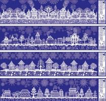 Okenní fólie - pruh - domy - 64 x 15 cm - 479