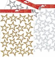 Okenní fólie - hvězdy - stříbrné, zlaté, bílé s glitrem - 37 x 26 cm - 481