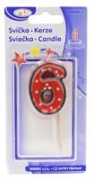 Dortová svíčka na špejli - číslo - 6 - 37206