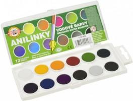 Vodové barvy brilantní (anilinky) 12 odstínů