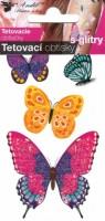 Tetovací obtisky s glitry -  10,5 x 6 cm - motýli - 1102