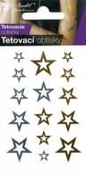 Tetovací obtisky zlaté a stříbrné - 10,5 x 6 cm - hvězdy - 1112