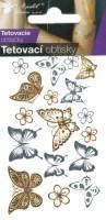 Tetovací obtisky zlaté a stříbrné - 10,5 x 6 cm - motýli - 1114