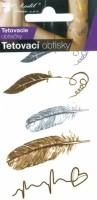 Tetovací obtisky zlaté a stříbrné - 10,5 x 6 cm - pírka - 1115