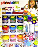 Prstové barvy v kelímku 9 x 40 ml + razítka - S920626