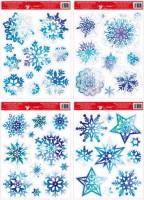 Okenní fólie vločky a hvězdy modré s glitry 38x30 cm  211