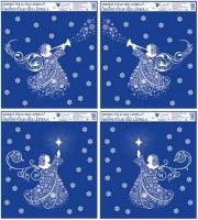 Okenní fólie s glitrem anděl z vloček 33,5 x 30 cm  475