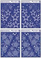 Okenní fólie rohová s glitrem a sněhovým efektem hvězdy 38 x 30 cm  486