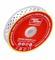 Stuha saténová 12 mm / 25 m - bílá s puntíkem - 602701