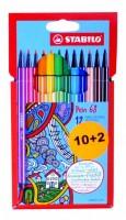 Stabilo Pen 68 - Cardboard 10 + 2 ks -CZ6812-7-1