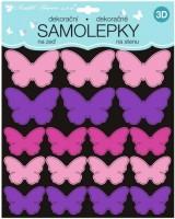 Samolepky na zeď 3D - Růžovofialoví motýli - 2 archy - 35 ks - 10277
