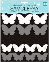 Samolepky na zeď 3D - Černostříbrní motýli - 2 archy - 35 ks - 10278