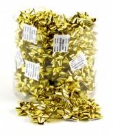 Kokardy na balíčky - 100 ks - metal zlatá - 2121933