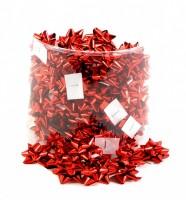 Kokardy na balíčky - 100 ks - metal červená - 2121934
