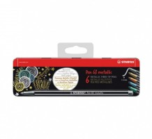 Stabilo Pen 68 - Metallic - 6 ks - metal box - 6806/8-31