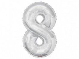 Nafukovací balónek - číslice - 8 - stříbrný - 86 cm - K19650-34S