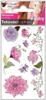 Tetovací obtisky s glitry Květy 10,5 x 6 cm  1126