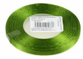 Stuha saténová 6 mm/32m - tm. olivová - 601075