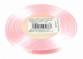 Stuha saténová 6 mm/32m - pastelová sv. růžová - 601080