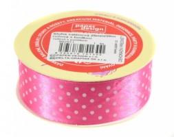Stuha saténová 25 mm/20m - růžová s puntíkem - 602911