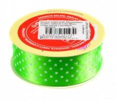Stuha saténová 25 mm / 20 m - světle zelená s puntíkem - 602924