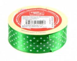 Stuha saténová 25 mm / 20 m - zelená s puntíkem - 602925