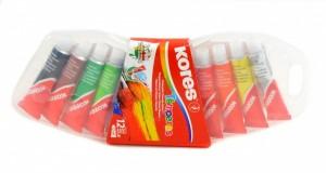 Temperové barvy v tubě - 12 barev - Kores - 72412