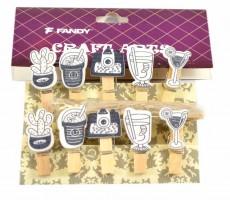 Kolíčky dekorační - Shapes 9 - Retro - 170431