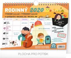 Kalendář - týdenní, rodinný, plánovací s háčkem 2020 - 30 × 21 cm - PGS-6743