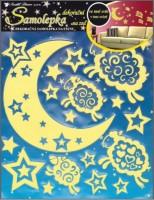 Samolepky svítící ve tmě na zeď - měsíc a ovečka - 607