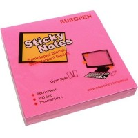 Samolepící bloček Neon 75 x 75 mm - růžový