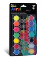 Akrylové barvy Primo Fluo+Metal, 14 x 4,5ml, blistr M-1612T14FM