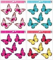 Okenní fólie s glitry - Motýlci - 33 x 30 cm - 989