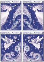 Okenní fólie rohová s glitrem anděl 38 x 30 cm  488