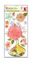 Pokojová dekorace s květovanou vázou 60 x 32 cm